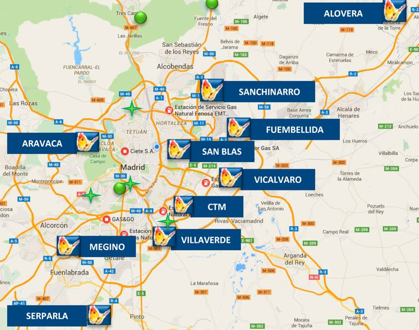 Estaciones de servicio públicas de Gas Natural Vehicular (GNV) en Madrid