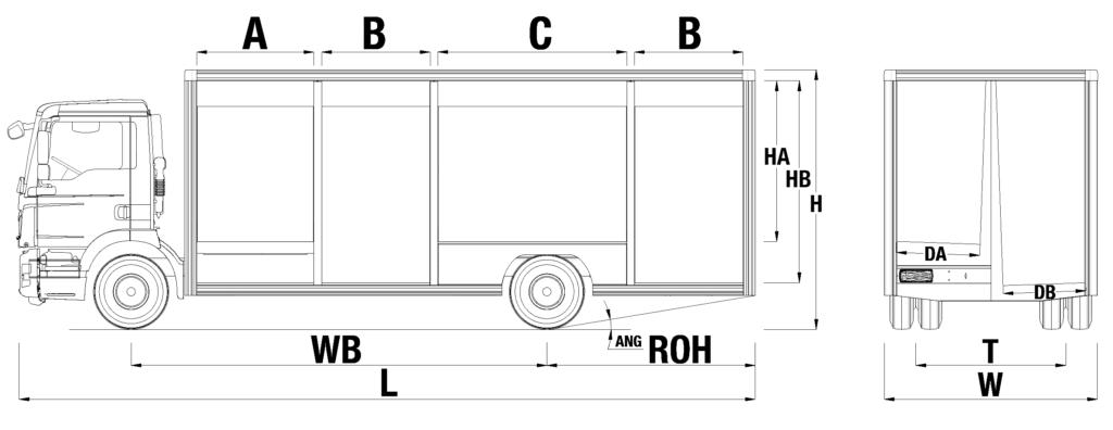 Medidas camion botellero MAN TGM 15
