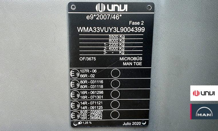 características MAN TGE UNVI S20