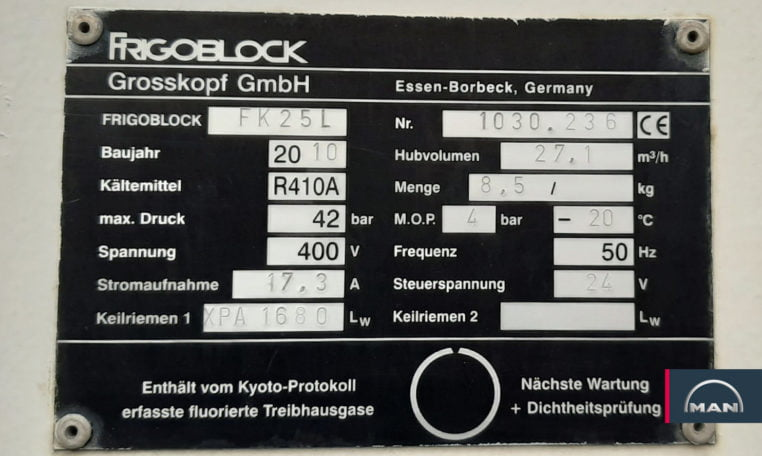 equipo frigorífico MAN TGM 15.250 4X2 BL
