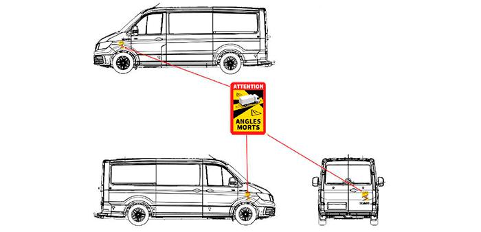 pegatina ángulo muerto para furgonetas